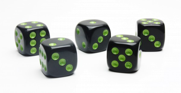 Würfel-Set: W6 - Augen - grün/schwarz