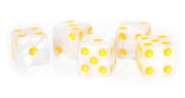 Würfel-Set: W6 - Augen - gelb/weiß - marbled Color, marmoriert