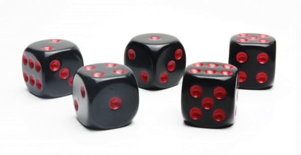 Würfel-Set: W6 - Augen - rot/schwarz