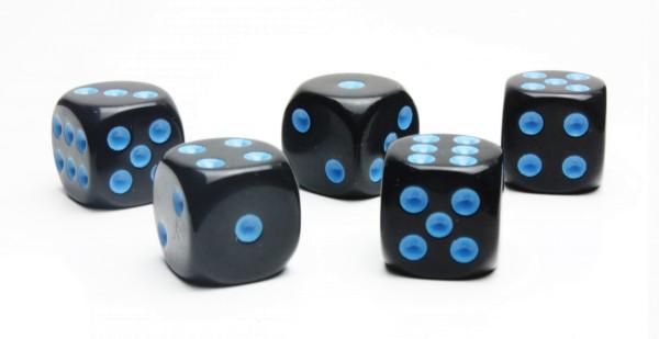 Würfel-Set: W6 - Augen - blau/schwarz