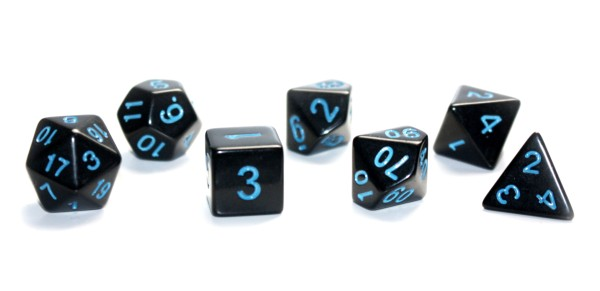 Würfel-Dice-Set: 7 teilig - schwarz/blau
