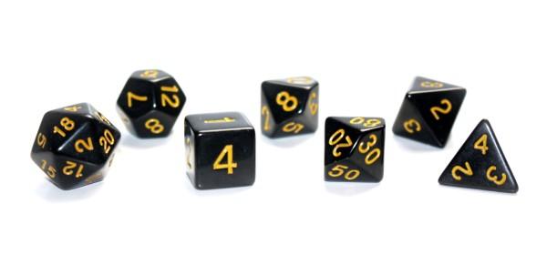 Würfelset: 7 teilig - schwarz/gelb