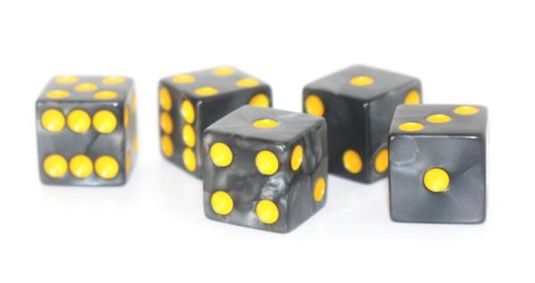 Würfel-Set: W6 - Augen - gelb/schwarz - marbled Color, marmoriert