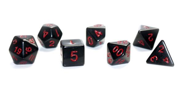 Würfel-Dice-Set: 7 teilig - schwarz/rot