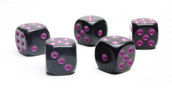 Würfel-Set: W6 - Augen - violett/schwarz