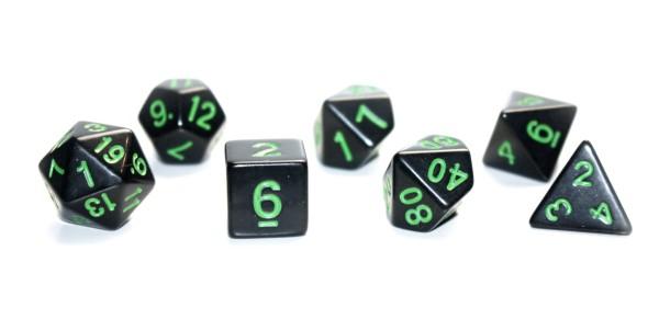 Würfel-Dice-Set: 7 teilig - schwarz/grün