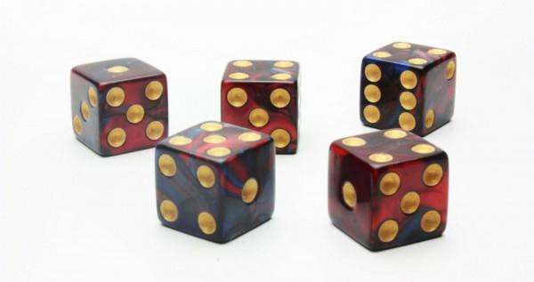 Würfel-Set: W6 - Gold Augen - rot/blau - mixed Color