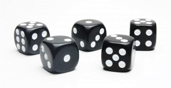 Würfel-Set: W6 - Augen - weiß/schwarz