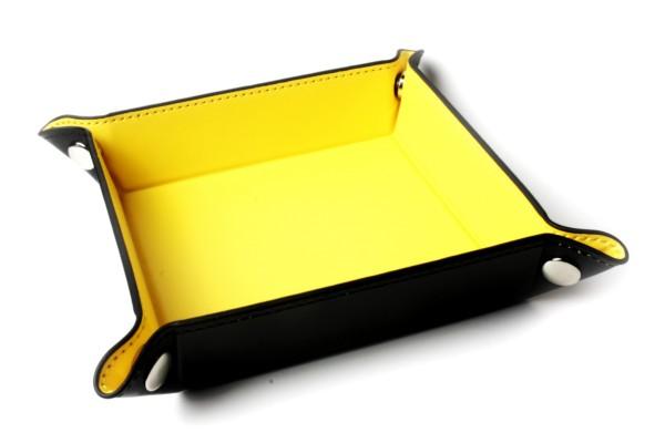 Würfelbrett faltbar, Würfellschale in gelb 1