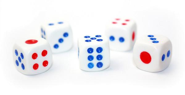 Würfel-Set: Würfel W6 - rot/blau/weiß