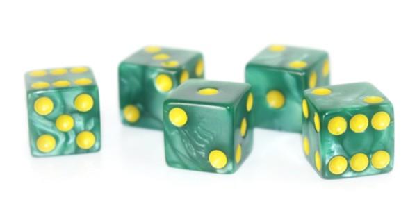 Würfel-Set: W6 - Augen - grün/gelb - marbled Color, marmoriert