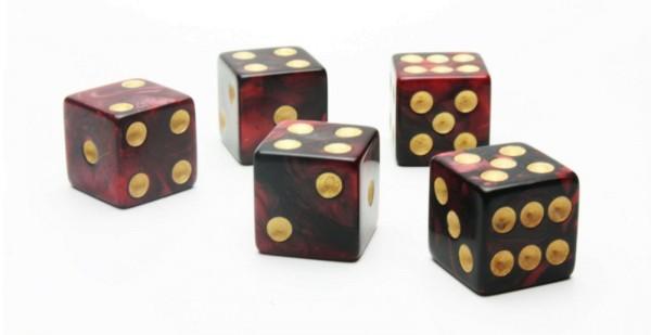 Würfel-Set: W6 - Gold Augen - rot/schwarz - mixed Color