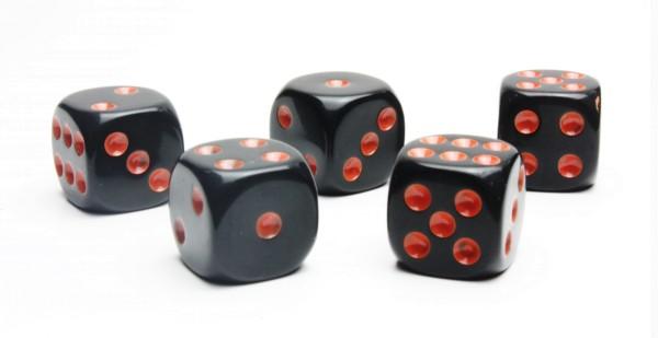 Würfel-Set: W6 - Augen - orange/schwarz