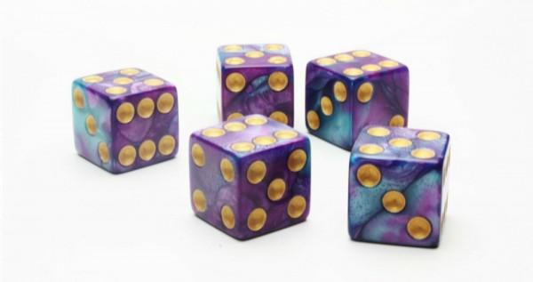 Würfel-Set: W6 - Gold Augen - türkis/violett - mixed Color